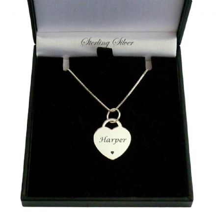 Engraved Silver Heart Pendant on Silver Chain
